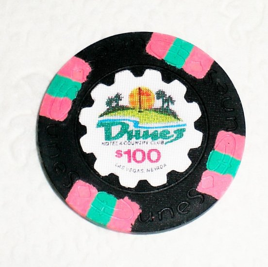 $100 Dunes Chip, Las Vegas, Absolutely Perfect Condition