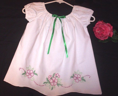 Vintage Pillowcase Dress - Noel - Peasant Style - Little Girl Dress