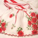 Christmas Vintage Pointsetta Hankie Purse - Handbag - Little Girl - Mother - Handkerchief Gift