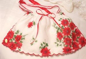 Christmas Vintage Pointsetta Hankie Purse - Handbag - Little Girl - Mother - Handkerchief Gift