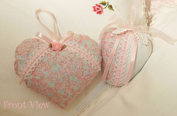 Lavender Sachets ~ Romantic Cottage Cuties ~ Heart and Strawberry ~ Vintage Fabric