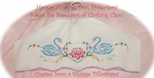 Hanger Cover - Clothing Protector - Embroidered Swans - Vintage Pillowcase