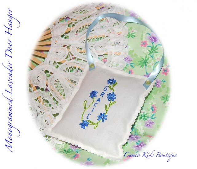 Lavender Sachets - Hand Embroidered - Personalized - Door Hanger - Sachet