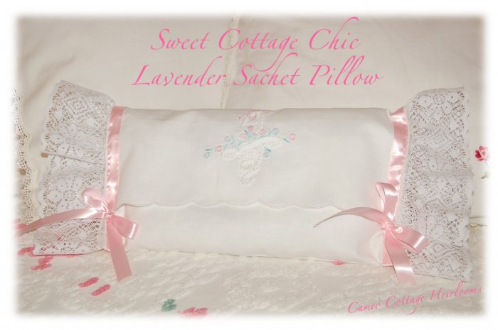 Cottage Chic - Decorative Pillow - Lavender Sachet - Hanger Sachet - Storage Bag