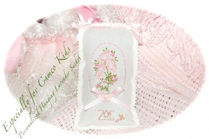 Lavender Sachets - Hand Embroidered - Personalized - Door Hanger - Sachet - PK