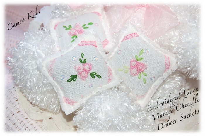 Drawer Sachets - Linen and Chenille - Lavender Gifts - Sachet