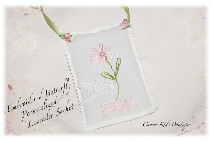 Lavender Sachet - Hand Embroidered - Personalized - Door Hanger - Sachets - Flower