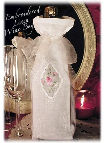 Linen Wine Bag - Gift Bags - Embroidered Roses - Special Occassion Gift Bags