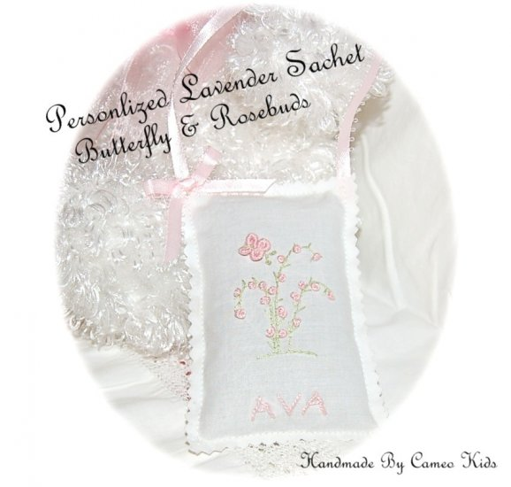 Personalized Lavender Sachet - Lavender Sachets - Lavender Gifts - Butterfly
