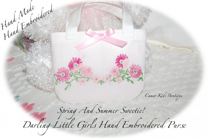 Handmade - Hand Embroidered - Little Girls Purse - Little Girl Handbags