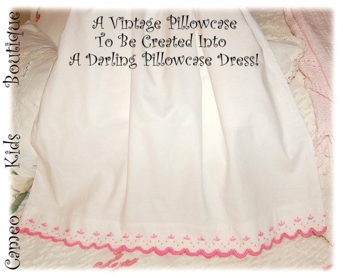 Priscilla - Pillowcase Dress - Little Girls Dress - Pink Crochet - Vintage