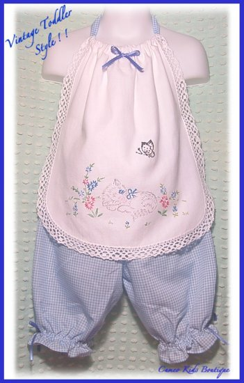 Cameo Kids - Toddler Girls - Halter Top - Pantaloons - Vintage - Embroidered Kitten