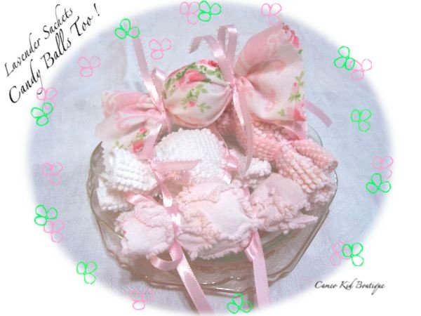 Asst Candy - Lavender Sachets - Vintage - Chenille - Designer Fabric - Gift Ideas - Girl Tea Party