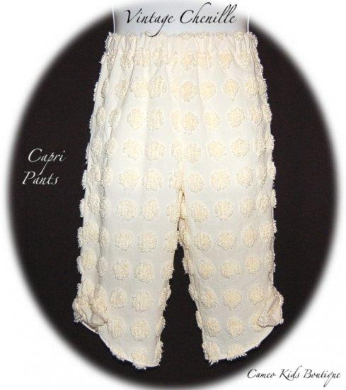 Yellow - Handmade - Vintage Chenille Capri Pants - Custom Order - Size 5  - 8