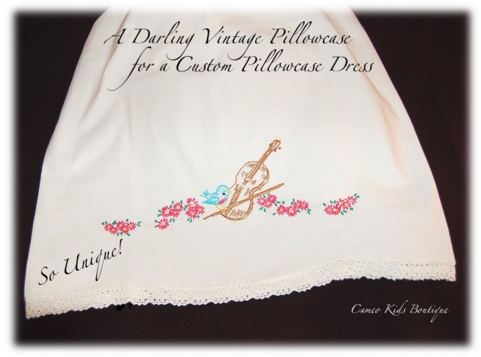 Chelsea - Pillowcase Dress - Sweet Embroidered Blue Bird on Violin