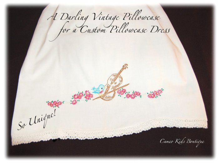 Chelsea - Pillowcase Dress - Sweet Embroidered Blue Bird on Violin - Vintage