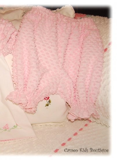 Chenille Bloomers - Pantaloons - Vintage Popcorn Chenille - Bubblegum Pink