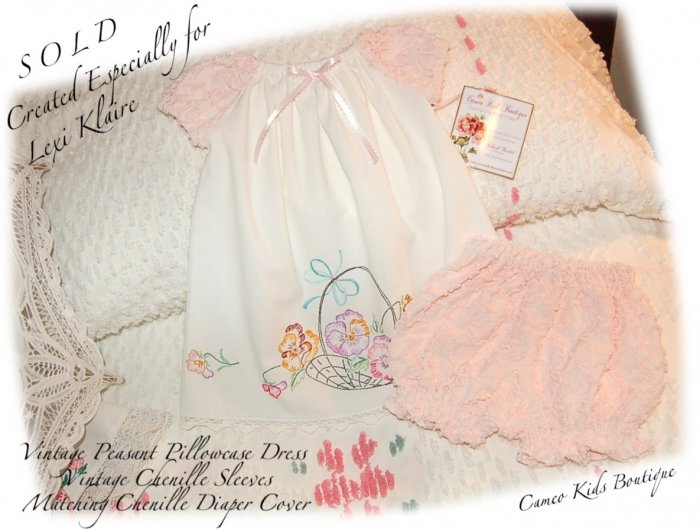 Special Request for Brandi Smith - Newborn Peasant Pillowcase Dress and Chenille Diaper Cover