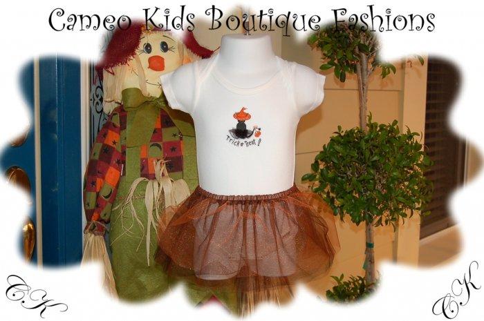 Boutique Baby Onesie - Halloween - Handpainted - Tulle Skirt