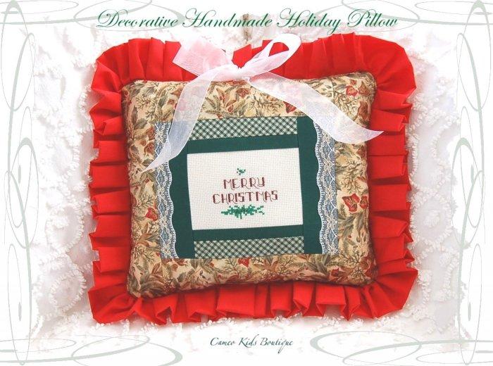 Decorative Cross Stitched - Christmas Pillow - Handmade - Holiday Home Decor