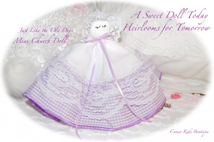 Church Doll - Heirloom Gifts for Little Girls - Lavender Gingham and Lace