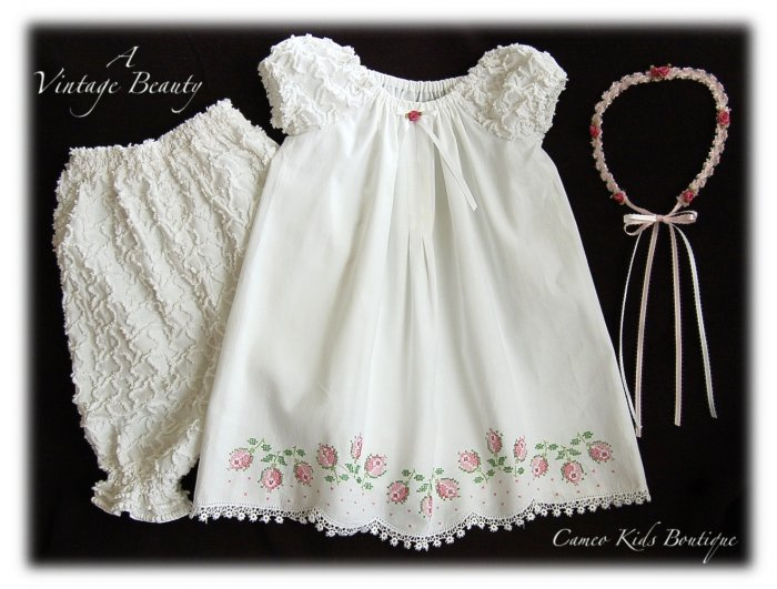Abriella - Vintage Pillowcase Dress - Cross Stitch - Little Rose Buds -Little Girls Heirloom Dress