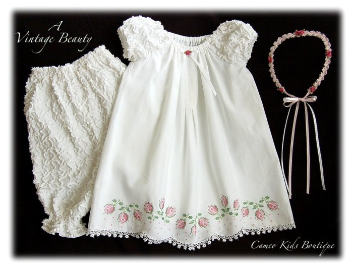 Abriella - Vintage Pillowcase Dress - Little Girls Heirloom Dress
