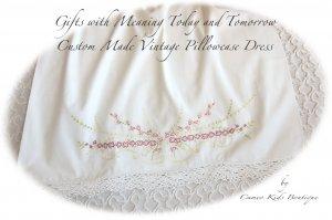 Belle - Embroidered - Vintage Pillowcase Dress - Beach Portrait Dress