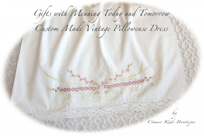 Belle - Embroidered - Vintage Pillowcase Dress - Custom - Portrait Dress