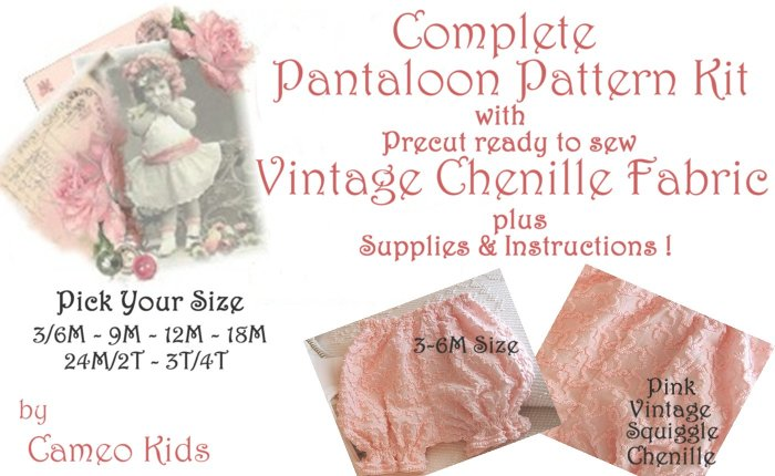 Vintage - Pink Squiggle Chenille - Pantaloon - Sewing Kit - 3M to 4T - Easy Instructions Supplies