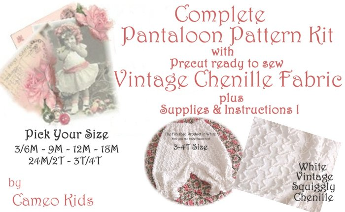 Vintage - White Squiggly Chenille - Pantaloons - Sewing Kit - 3M to 4T - Easy Instructions Supplies