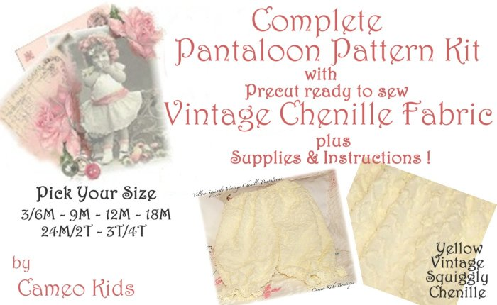Vintage - Yellow Squiggly Chenille - Pantaloons - Sewing Kit - 3M to 4T - Easy Instructions Supplies