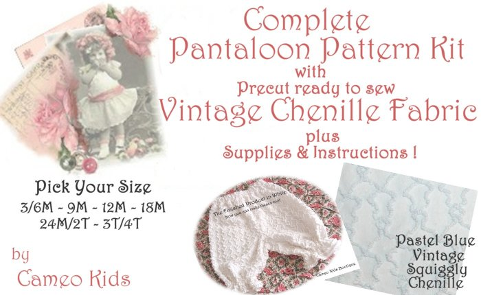 Lt. Blue - Vintage - Squiggle Chenille - Pantaloons - Sewing Kit - 3M-4T - Instructions Supplies