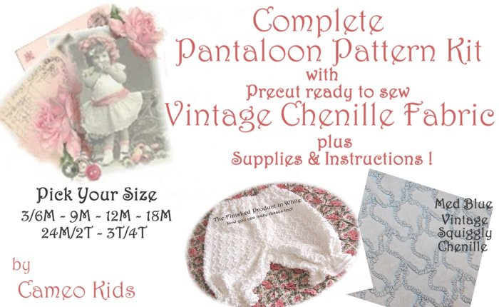 Med Blue - Vintage - Squiggly Chenille - Pantaloons - Sewing Kit - 3M to 4T - Instructions Supplies