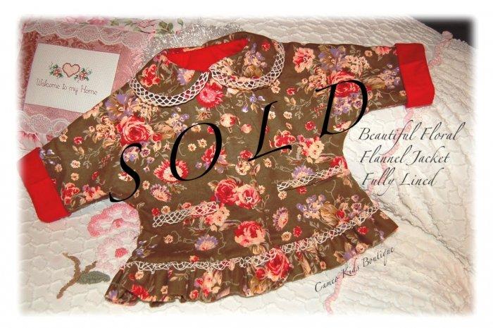 Handmade - Baby - Toddler - Designer Floral Flannel Jacket - Coat