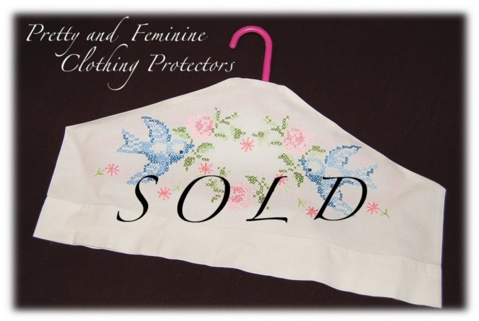 Hanger Cover - Cross Stitch - Bluebird - Eliminates Dust Build Up On Clothing