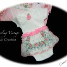 Pink - Vintage Hanky - Skirted Onesie - OOAK - Altered Baby Couture