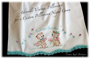 Wide Awake - Aqua - Vintage Pillowcase - Night Gown - Peasant Style - Nightgown