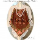 Recycled - Vintage Hanky - Halter Top - Little Girls - Pink and Brown - Roses