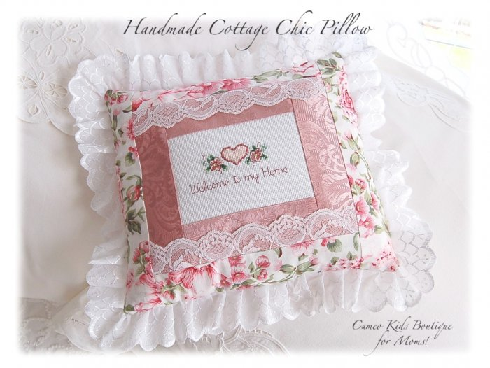 Cottage Chic - Welcome To My Home Pillow - Cross Stitch - Handmade - Home Decor