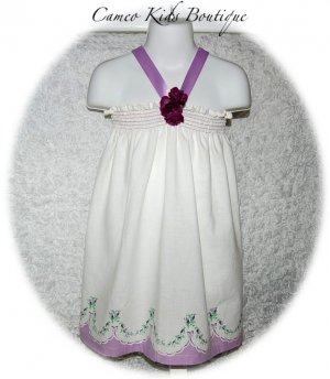 Lady Lavender - Lavender Floral - Vintage Feedsack - Little Girls - Halter Pillowcase Dress
