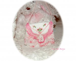 Precious Little Girls Lacy Purse - Vintage Embellishments - Easter Purse
