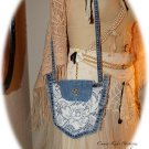 Jean Pocket Pouch with Vintage Lace - Levi and Lace