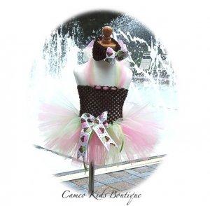 Birthday Cupcake Toddler Tutu Dress - Matching Headband - Pink - Brown - Lime