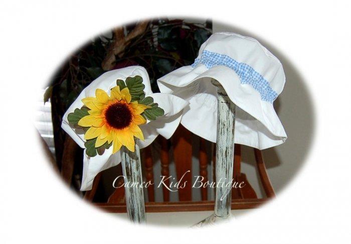 Vintage Style Floppy Sun Hat - Little Boy - Blue Gingham Band