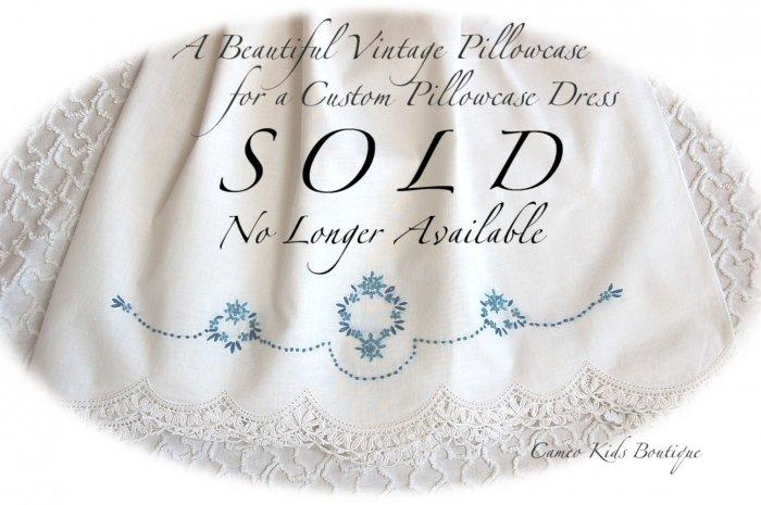 Lexi - Embroidered Blue Floral - Pillowcase Dress - Little Girls Heirloom Dress