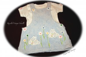 Sweet Baby Vintage Chenille Jumper with Tee - Darling Bunnies