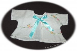 Vintage Embroidered Linen Baby Jacket 0 - 3M - Aqua Ribbon Ties