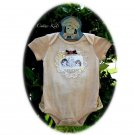 Tea Stained Ruffle Baby Onesie - Vintage Inspired - Altered Couture - Lace and Buttons