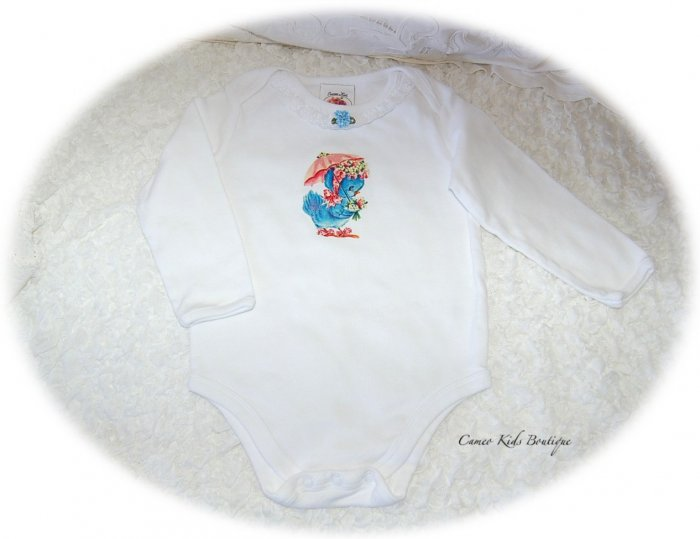 Sweet Baby Blue Bird Vintage Inspired Baby Couture
